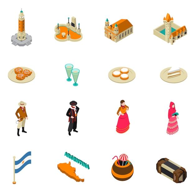 Collection D'icônes De Symboles Isométriques Touristiques Argentins Vecteur gratuit