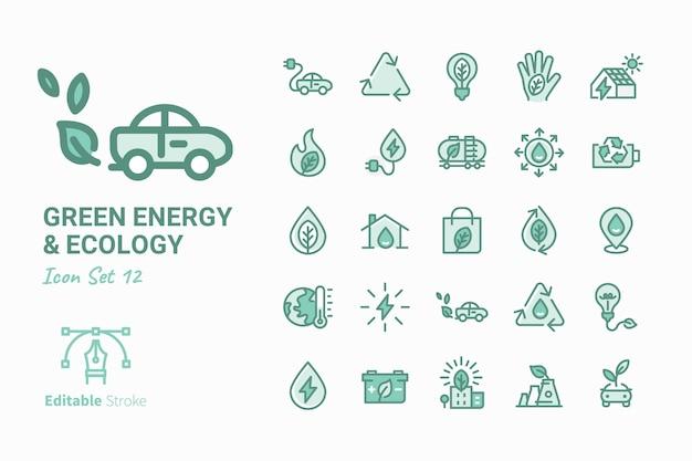 Collection d'icônes de vecteur énergie verte et écologie vol.12 Vecteur Premium