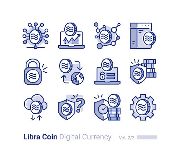 Collection d'icônes vectorielles balance pièce Vecteur Premium