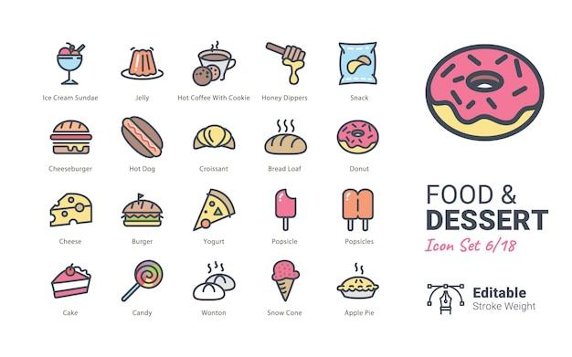Collection d'icônes vectorielles food & dessert Vecteur Premium