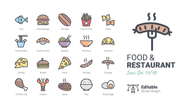 Collection d'icônes vectorielles food & restaurant Vecteur Premium