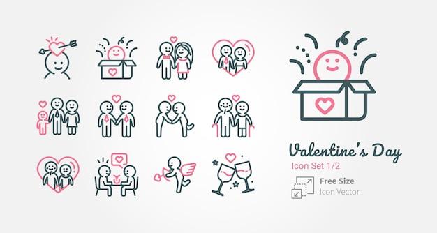 Collection d'icônes vectorielles valentin avec contour Vecteur Premium