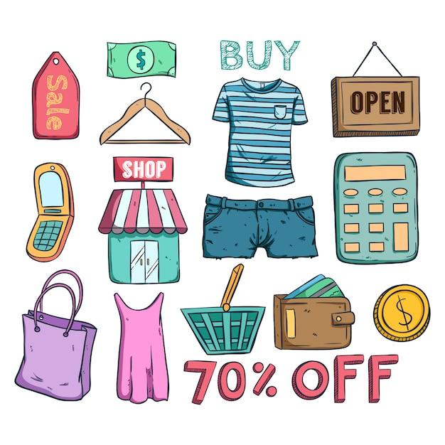 Collection d'icônes de vente ou d'escompte de commerce électronique avec style doodle Vecteur Premium