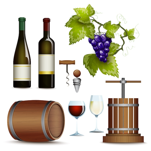 Collection d'icônes de vin à plat Vecteur gratuit
