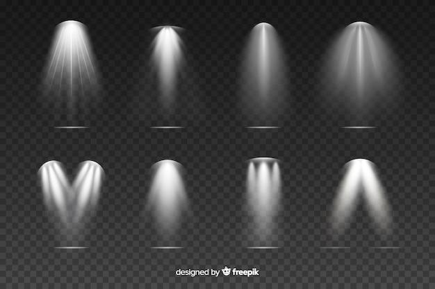 Collection d'illumination de scènes de gris réalistes Vecteur gratuit
