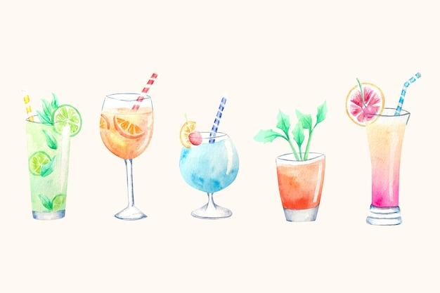 Collection D'illustration De Cocktail Aquarelle Vecteur gratuit