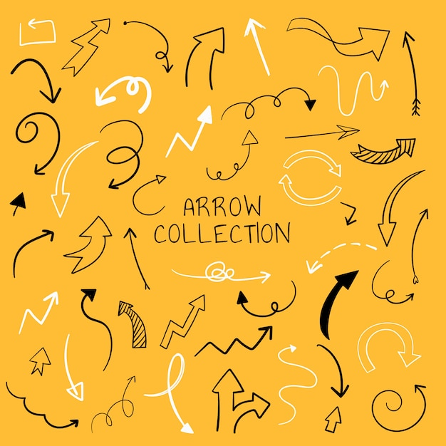 Collection d'illustration flèche dessinés à la main Vecteur gratuit