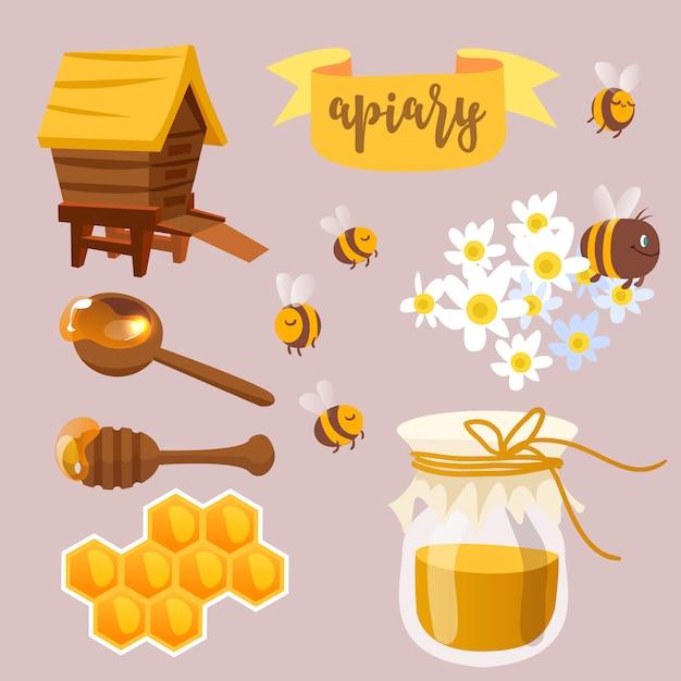 Collection d'illustration de miel Vecteur Premium