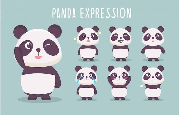 Collection d'illustration mignonne d'expression de panda Vecteur Premium