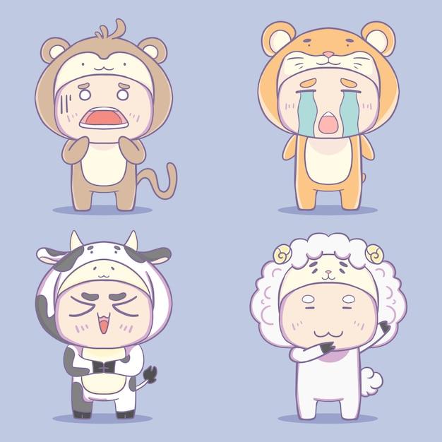 Collection D'illustration De Personnage De Costume Animal Kawaii Dessinés à La Main. Vecteur Premium