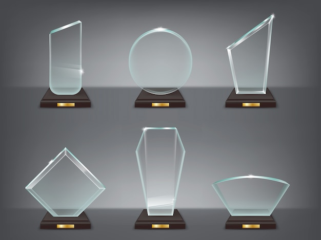 Collection illustration vectorielle de trophées de verre modernes, des prix Vecteur gratuit