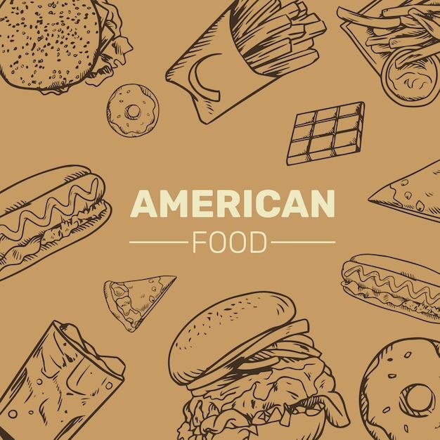 Collection d'illustrations américaines doodle handrawn Vecteur Premium