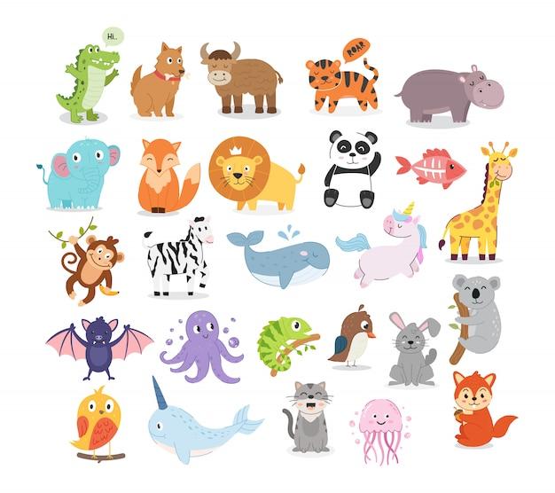 Collection D'illustrations Animales Vecteur Premium
