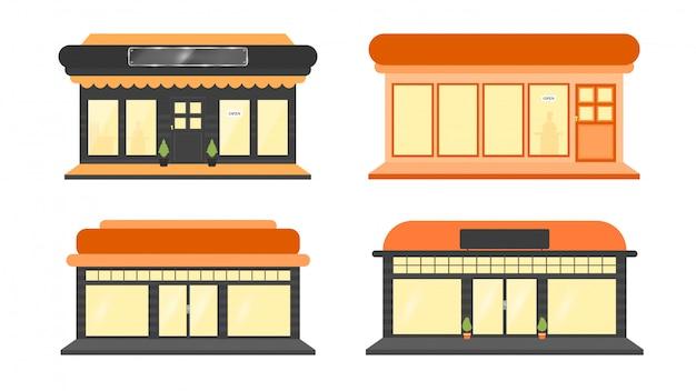 Une collection d'illustrations de construction de magasin Vecteur Premium