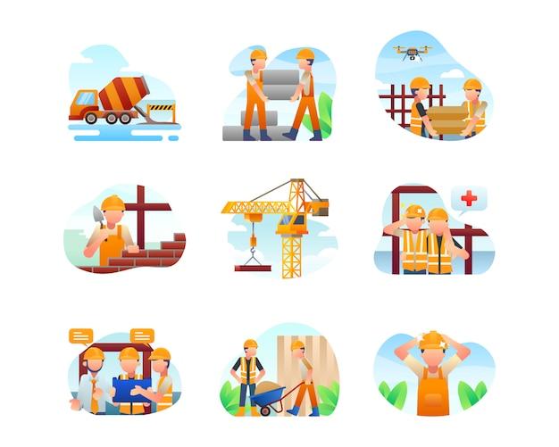Collection D'illustrations De Construction Vecteur Premium