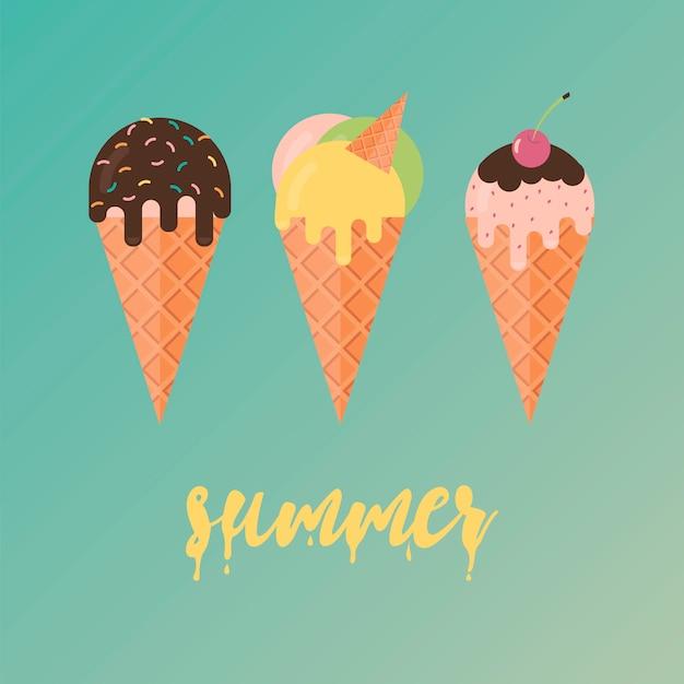 Collection d'illustrations de crème glacée Vecteur Premium