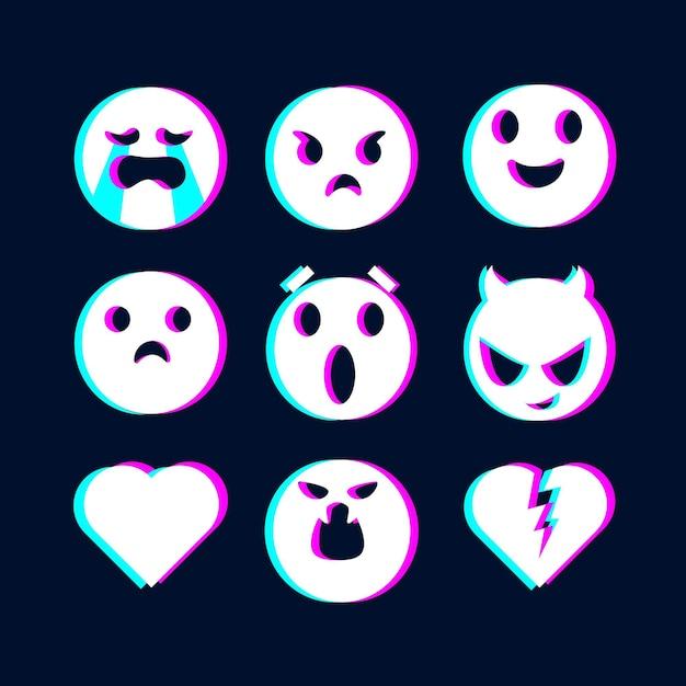 Collection D'illustrations Emojis Glitch Vecteur gratuit