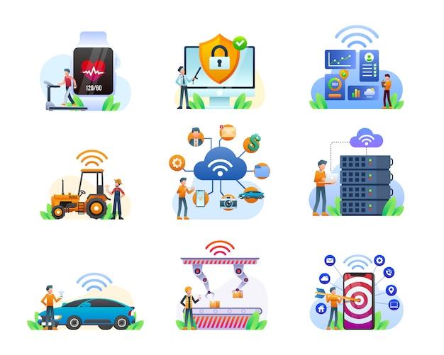 Collection D'illustrations Internet Des Objets Vecteur Premium