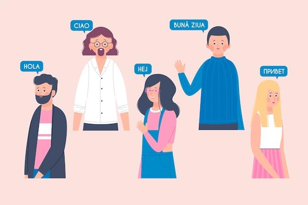 Collection d'illustrations de jeunes parlant dans différentes langues Vecteur gratuit