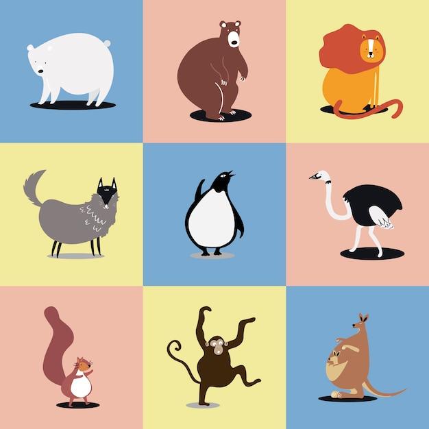 Collection d'illustrations mignonnes d'animaux sauvages Vecteur gratuit