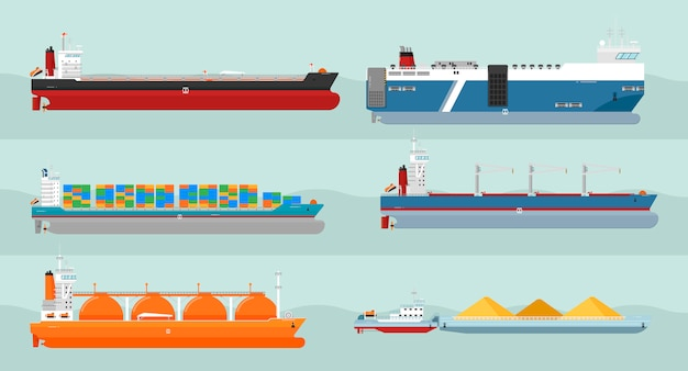 Collection D'illustrations De Style Plat De Navires De Charge Vecteur Premium