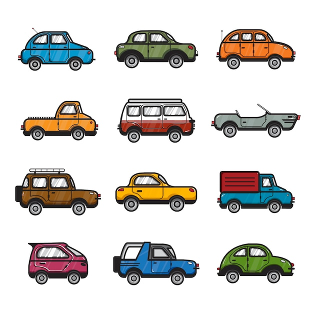 Collection d'illustrations de voitures et de camions Vecteur gratuit