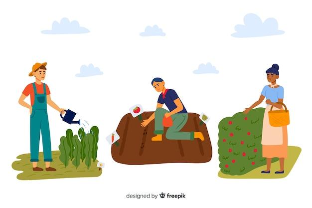 Collection illustrée d'agriculteurs travaillant Vecteur gratuit