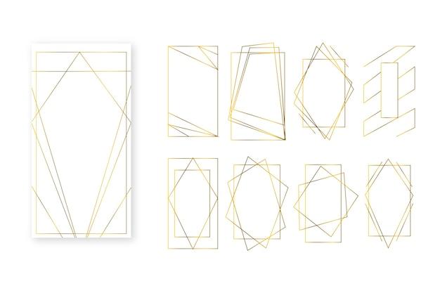 Collection d'images polygonales simplistes dorées Vecteur gratuit