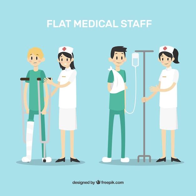 Collection d'infirmières avec des patients Vecteur gratuit