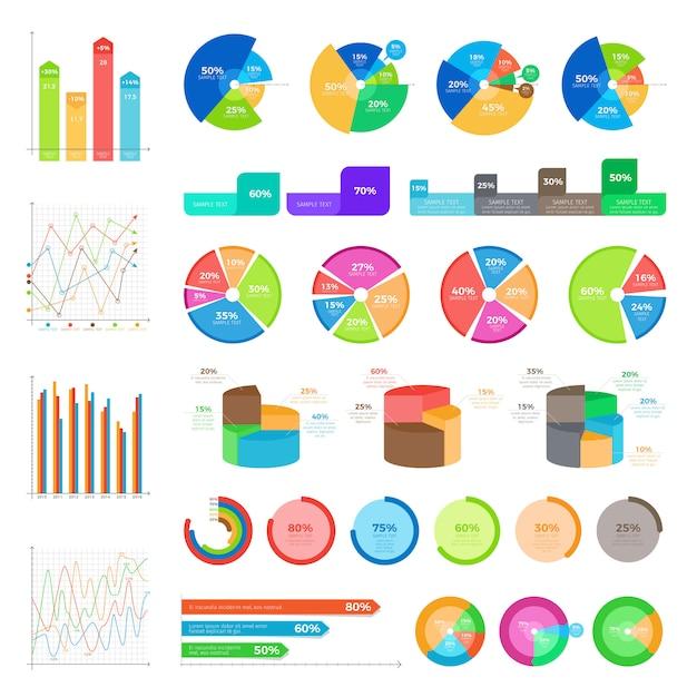 Collection d'infographies sur blanc. vector autour de diagrammes avec des pourcentages et des graphiques en colonnes dans un style plat Vecteur Premium