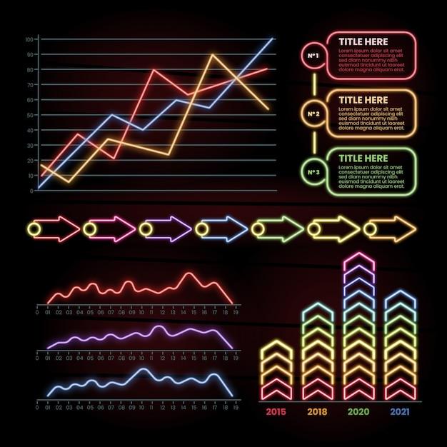 Collection d'infographies néon Vecteur gratuit