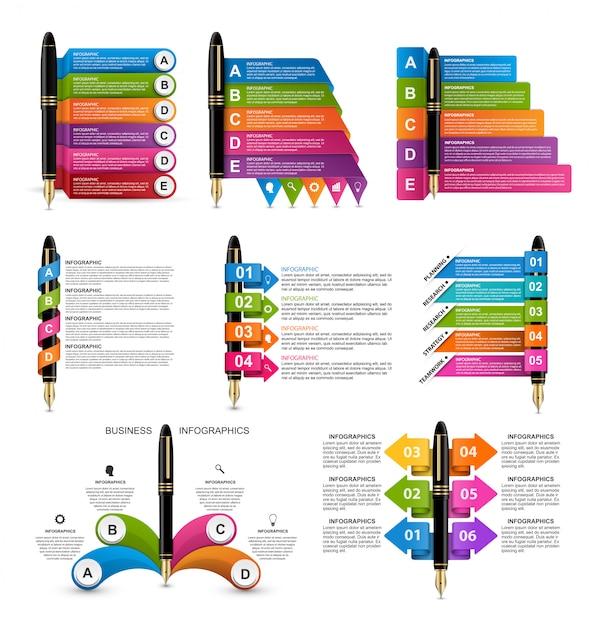 Collection d'infographies avec des stylos à encre. Vecteur Premium