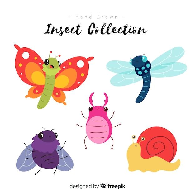 Collection d'insectes colorés dessinés à la main Vecteur gratuit