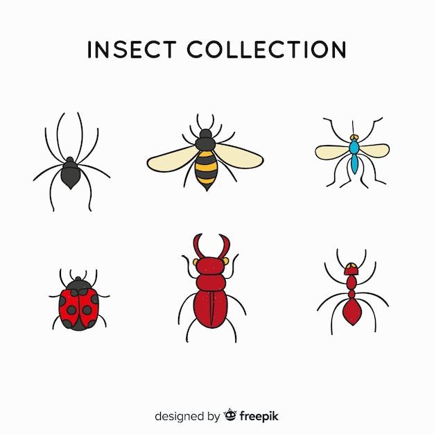Collection d'insectes simple Vecteur gratuit