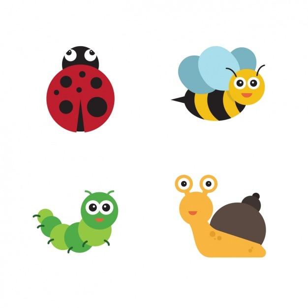 Collection d'insectes Vecteur gratuit