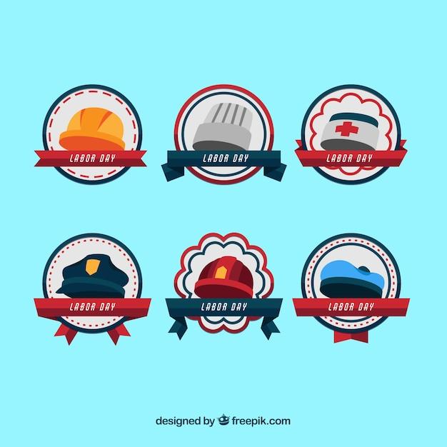 Collection d'insigne de la fête du travail classique avec design plat Vecteur gratuit