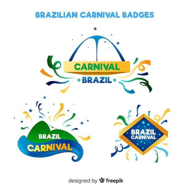 Collection d'insignes de carnaval brésilien Vecteur gratuit