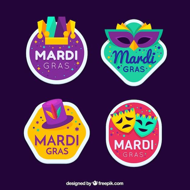 Collection d'insignes de carnaval mardi gras Vecteur gratuit