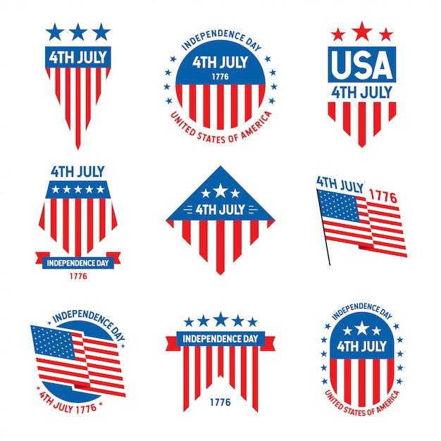 Collection D'insignes Célébration Du 4 Juillet états-unis D'amérique Vecteur Premium