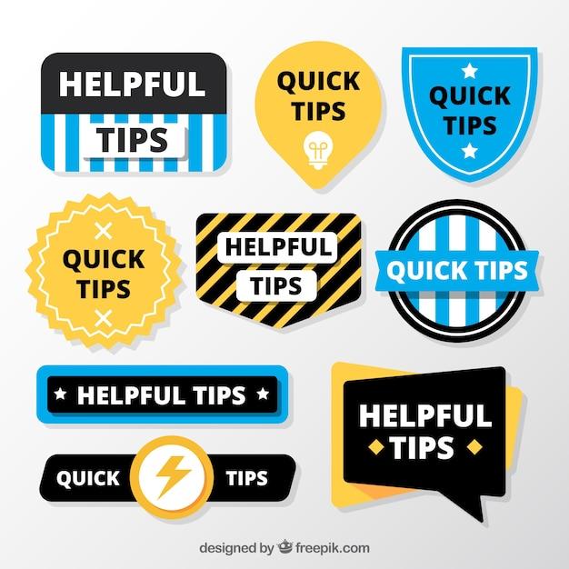 Collection d'insignes de conseils avec un design plat Vecteur gratuit