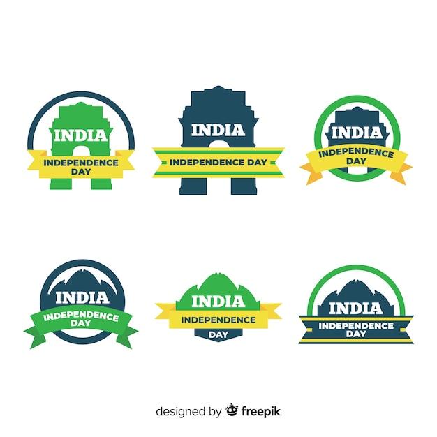 Collection d'insignes du jour de l'indépendance de l'inde Vecteur gratuit