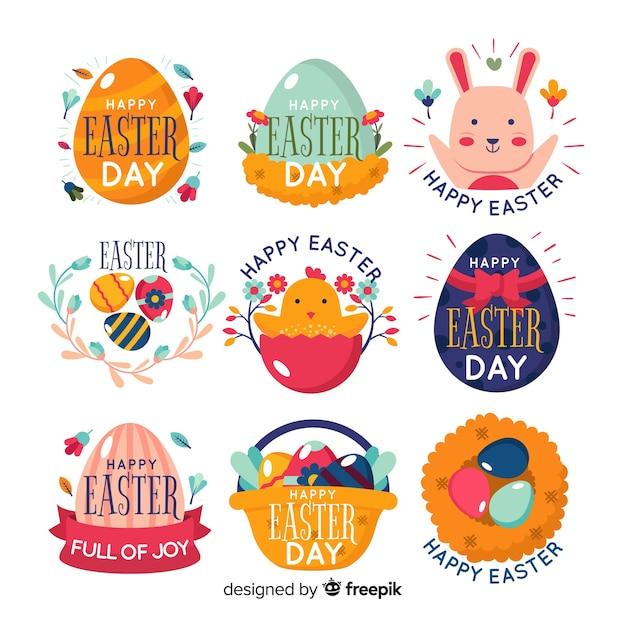 Collection d'insignes du jour de pâques Vecteur gratuit