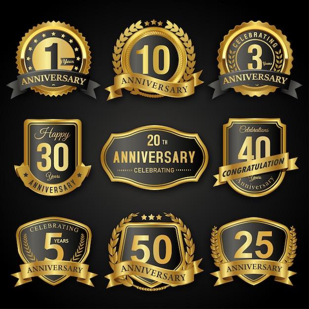 Collection d'insignes et d'étiquettes de phoques d'anniversaire anniversaire noir et or Vecteur Premium