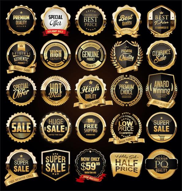 Collection d'insignes et d'étiquettes vintage rétro noires et dorées Vecteur Premium