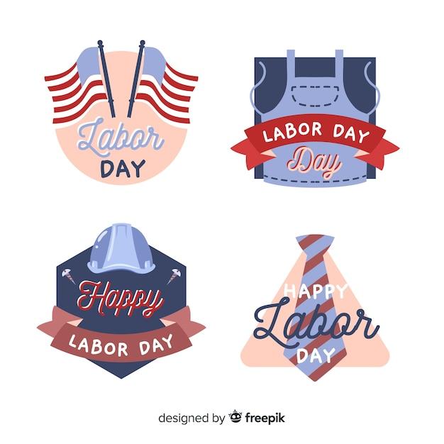Collection d'insignes de la fête du travail dessinés à la main Vecteur gratuit