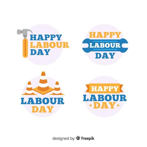 Collection d'insignes de la fête du travail Vecteur gratuit