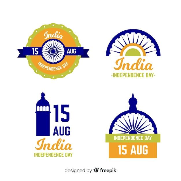 Collection d'insignes de la fête de l'indépendance de l'inde dessinés à la main Vecteur gratuit