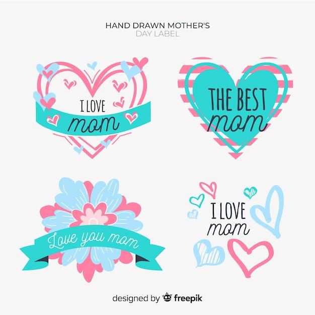 Collection d'insignes de fête des mères Vecteur gratuit
