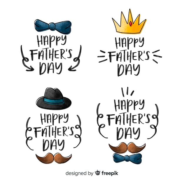 Collection d'insignes de fête des pères dessinés à la main Vecteur gratuit
