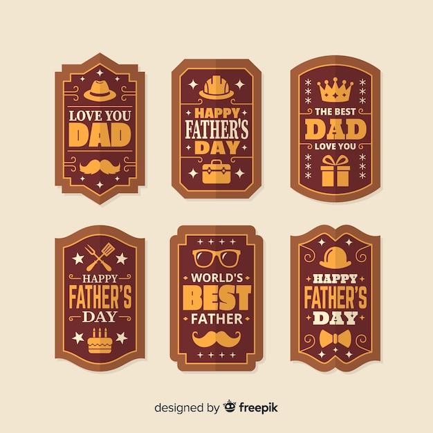 Collection d'insignes de fête des pères vintage Vecteur gratuit